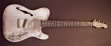 Deluxe Steelcaster Antique Silver Barbwire. Image by James Trussart Custom Guitars