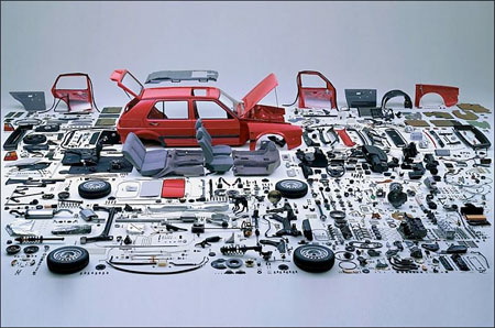 Image of a disassembled Volkswagon Golf Mark II. Photographer Unknown