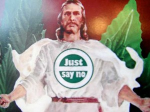 just say no sign jesus green leaves