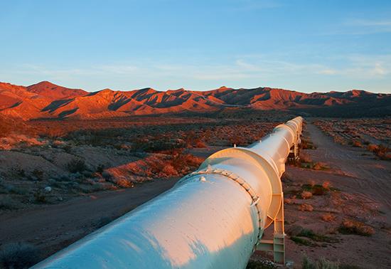 Pipeline in California's Mojave desert.