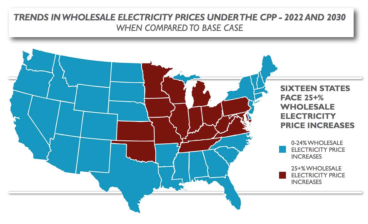 US map of electricity prices under EPA CPP