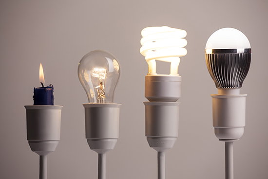 Lighting technology marches on from candles to tungsten to fluorescent to LEDs. Source: Adobe Stock/ vladimirfloyd.