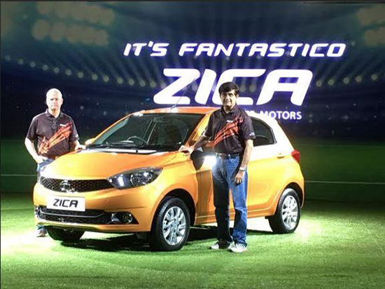 Tim Leverton and Mayank Pareek at the official unveiling of the new Tata Zica at an auto show in Goa last December. Source: Tata Motors
