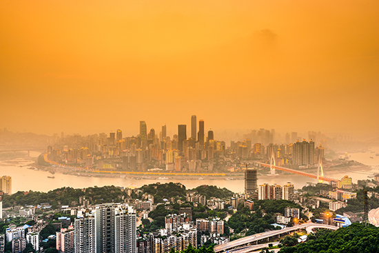 Chongqing, China, is one of many cities dealing with pollution due to overproduction: Source: Adobe Stock/SeanPavonePhoto.
