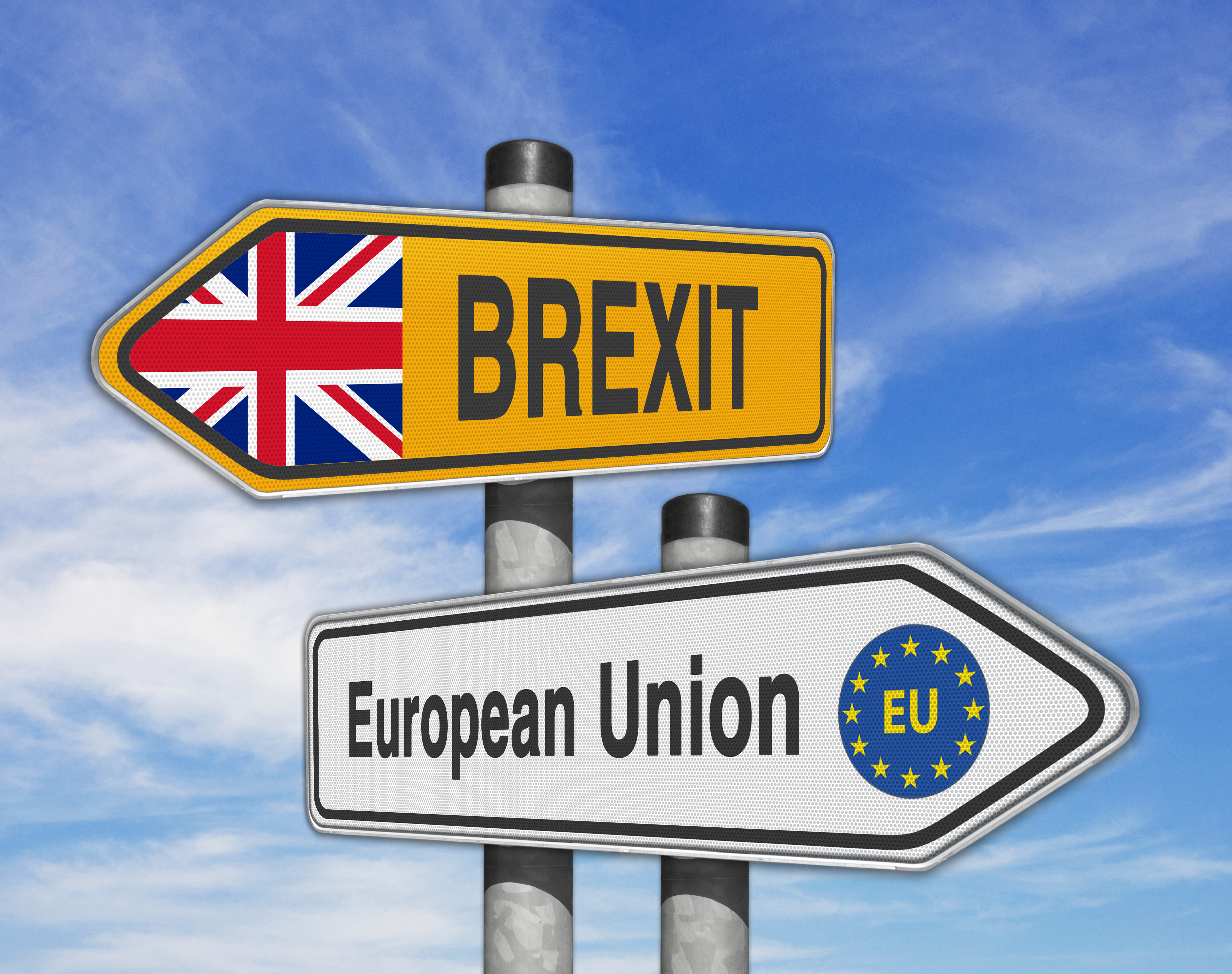 Brexit and European Union road signs