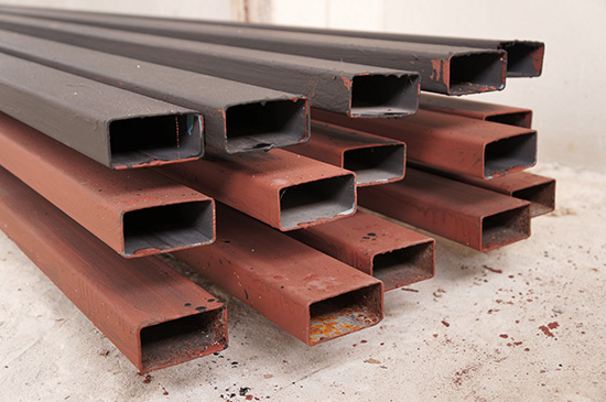 rectangular welded steel pipes on painting work