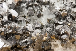 Black lead zinc ore closeup rocky texture