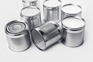 Tin cans. Cans are used for packing all sorts of goods - conserved food, chemical products such as paint, etc
