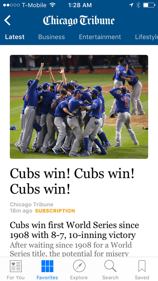 cubs win chicago tribune home page