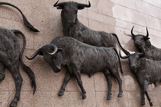 Bulls stampeding in a Madrid sculpture