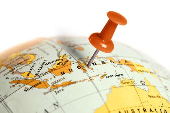Indonesia on a globe