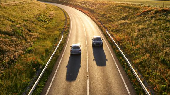 U.K. cars on motorway