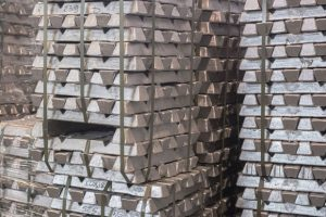 aluminum ingot stacked for export