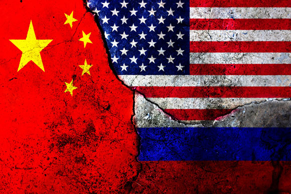 U.S., China and Russia flags