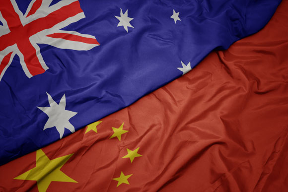 China and Australia flags