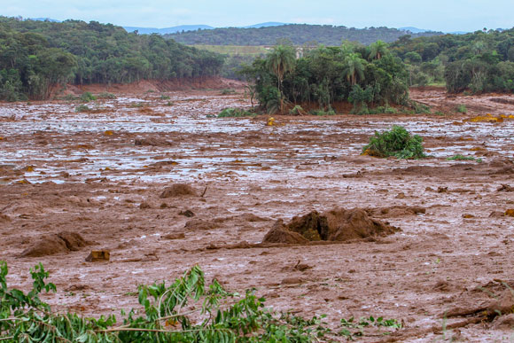 Tailings mud after dam rupture in Brumadinho, Minas Gerais, Brazil