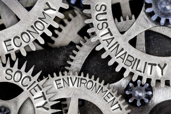 gears featuring words reading sustainability, environment, society and economy