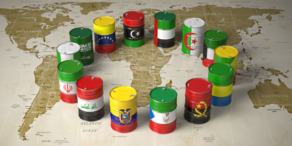 oil barrels featuring flags of OPEC nations