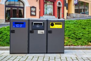 city garbage and recycling cans
